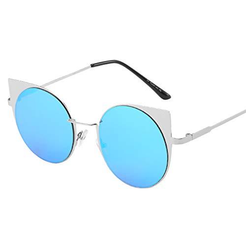 Fcostume Unisex-Mode-Sonnenbrille mit kleinem Rahmen Weinlese-Retro- unregelmäßige Form-Sonnenbrille (Blau)