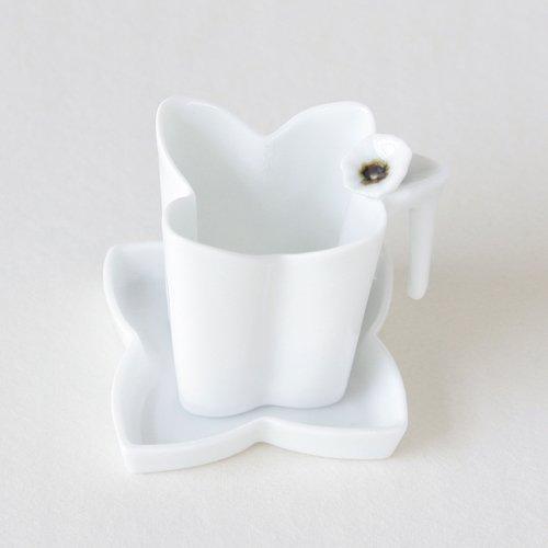 Porcelaine Blanche Ensemble Thé Infuseur + Soucoupe Collection FLEUR