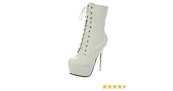Agodor Damen Stiletto High Heels Stiefeletten mit Schnürung und Reißverschluss Plateau Lack Ankle Boots Elegant Schuhe