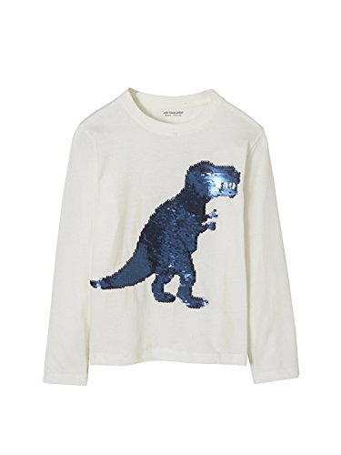 32b47d7e2 VERTBAUDET Camiseta niño con Lentejuelas Reversibles Blanco Claro Liso con  Motivos 10-12 Anos