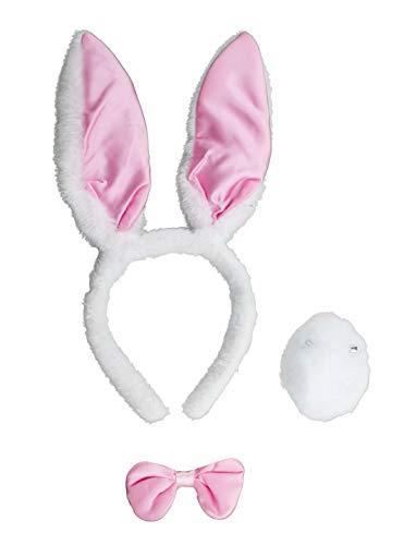 Luxuspiraten - Kostüm Accessoires Zubehör Damen Plüsch Hasen Häschen Rabbit Bunny Fell Set aus Ohren Fliege und Schwanz, perfekt für Karneval, Fasching und Fastnacht, - Bunny Kostüm Accessoires