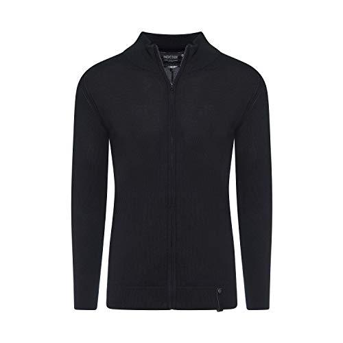 Indicode Chancellor Herren Strick-Pullover Zip-Jacket Jacke Stehkragen, Größe:XL, Farbe:Black