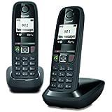 Gigaset AS470 Duo - Téléphone fixe sans fil - 2 combinés - Noir
