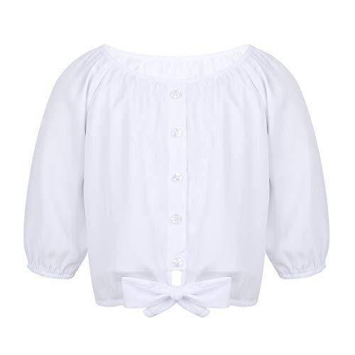 TiaoBug Mädchen Chiffon Bluse Halbarm Shirts Rundhals T-Shirt Lose Oberteile kurz mit Knopfleiste und Knoten Weiß 140-152/10-12 Jahre