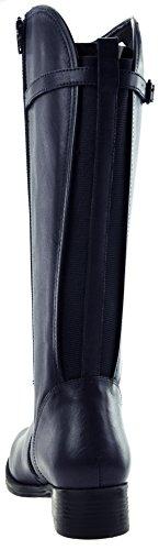 JJ Footwear Bottes Femme en Cuir Crète XXL mollets 49.4cm-57.1cm Bleu - Ozean Cow Nappa
