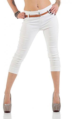 Damen Chino Stoffhose Bermuda Capri Hose Sommerhose Boyfriend Shorts inkl. Gürtel ( 493 ), Grösse:XL / 42, Farbe:Weiß