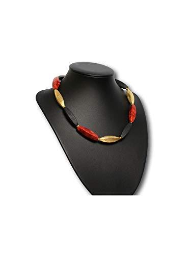 In Deutschland handgemachte Collier Damen Halskette in' Deutschland/Deutschlandkette schwarz rot...
