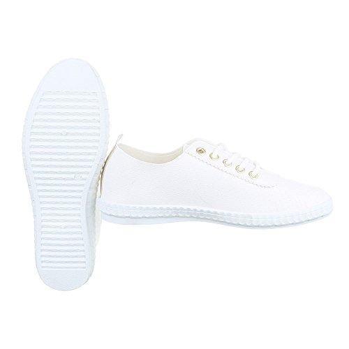 Sportschuhe Damenschuhe Geschlossen Sneakers Schnürsenkel Ital-Design Freizeitschuhe Weiß Gold FC-V403