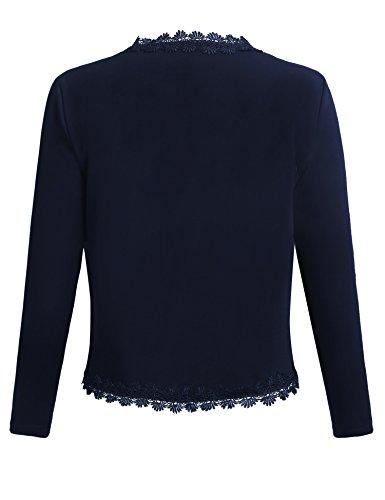 Parabler Damen Bolero 3/4 Arm Blazer Spitze Jäckchen Festlich Strickjacke Kurz Cardigan Top Blau