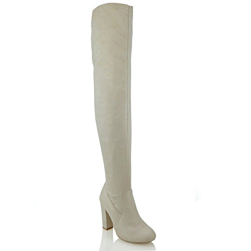 ESSEX GLAM Damen Oberschenkellange Stretch Langschaft Stiefel Mit Blockabsatz Hautfarbe Wildlederimitat