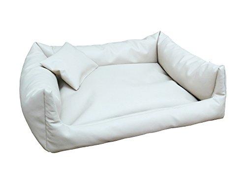 Rex cuccia letto piazza in eco pelle l 80x 100colore: bianco divano per cani + cuscino