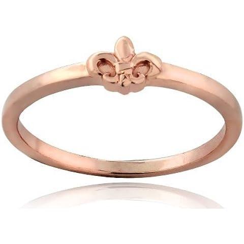 Oro rosa, in argento Sterling, con motivo Fleur De Lis-Anello a fascia in metallo metà lucido