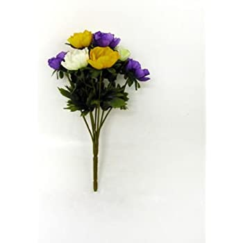 Yellow white and purple artificial silk anemone sprays artificial yellow white and purple artificial silk anemone sprays artificial mightylinksfo