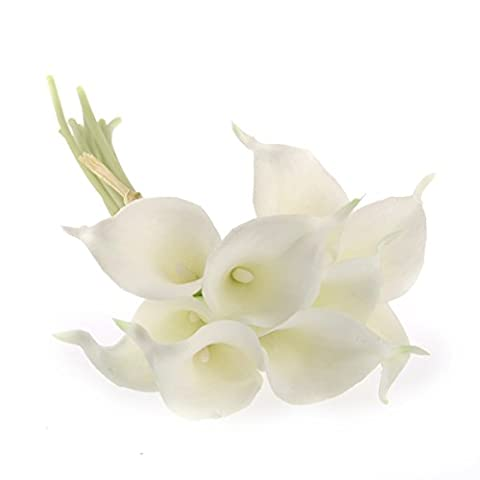 ROSENICE Artificial Calla Lily Bridal Wedding Bouquet Real Touch Flower Bouquets - 20pcs
