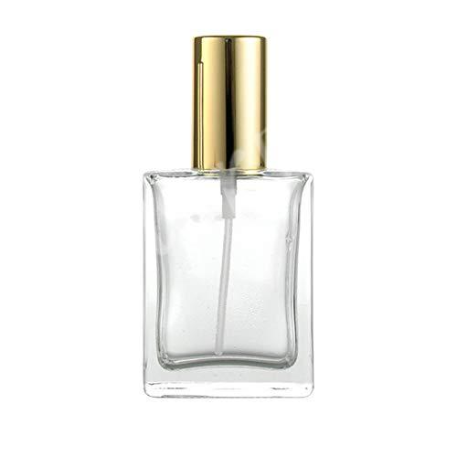 0Miaxudh Parfüm-Flasche, 50ml Travel Vintage Square Glas leere Parfüm-Sprüher Zerstäuber Geschenk Golden Square Glas
