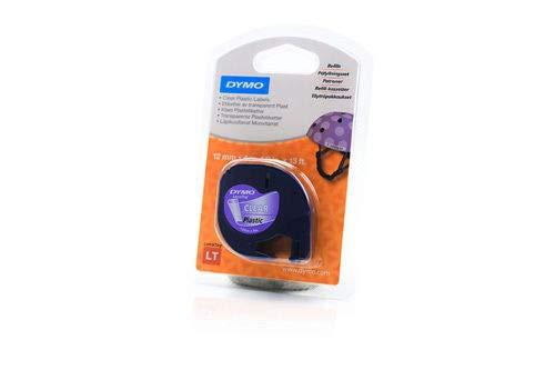 Dymo LetraTag-Band, Plastik 12mm x 4m schwarz auf transparent