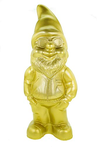 Zwerg Gartenzwerg Cool Gold Edition 34 cm PVC Garten Figur