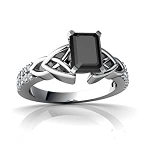 Genuine Black Onyx 14ct White Gold Engagement Ring - Size R