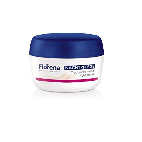 Florena Nachtpflege mit Traubenkernöl & Sojaextrakt, Vegan, 1er Pack, (1 x 50 ml)