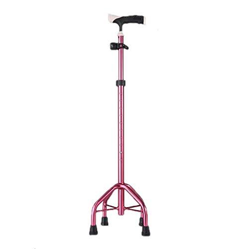 LIQIN Cuatro Patas Walking Aid Muletas Aleación de Aluminio Telescópico Multifunción Viejo bastón Antideslizante 71cm (Color : Pink)