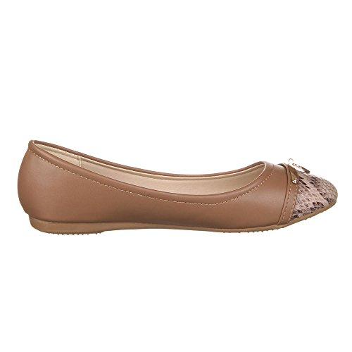 Damen Schuhe, 8531-BL, BALLERINAS Braun
