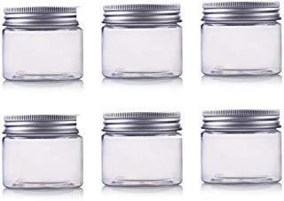 Kunststoff-pille (250ml / 8oz Gläser PET Kunststoff leere Kosmetikbehälter Gläser Fällen mit Silber Aluminium Deckel Creme Lotion Box Salben Flasche Lebensmittel Flasche Make-up Topf Jar 6 Pack)