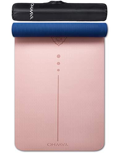 YAWHO Tappetino Yoga Tappetino per Il Fitness Tappetino per Esercizi TPE Materiale Ecologico,Specifiche 183 cm X 66 cm,6 mm di Spessore,Tappetino Sport Antiscivolo,e Zaini Regalo (Light Pink)