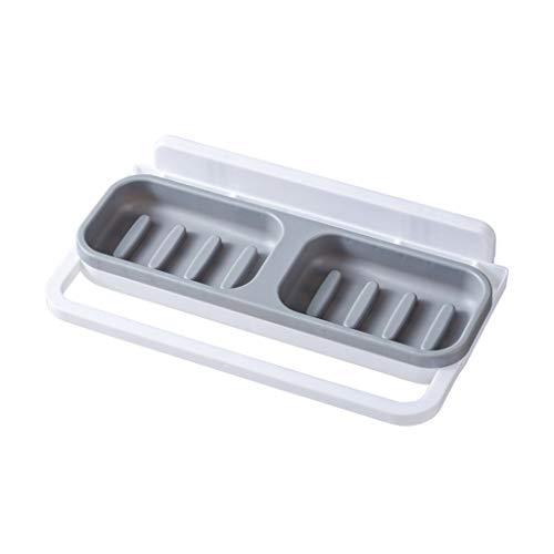 Tireow - supporto multifunzione per sapone da bagno, senza cuciture, supporto/scatola portaoggetti da parete, versatile per asciugamani con drenaggio, abs, grigio, 26.5×15.5cm/10.43×6.10
