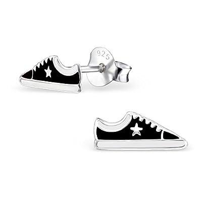 Bungsa© Sportschuhe .925 SILBER Ohrstecker für Kinder Sneaker Turnschuhe (Ohrringe Echtschmuck Studs Ohrschmuck Jungen Mädchen)