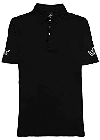 Mens Designer Fashion Rock Band Style Black Glossy Tattoo Ink Print Polo Shirts – ALPHA MALE DESIGNS - High Quality 100 % Cotton Jersey Polos – Slim Fit Short Sleeve Trendy Tops For Men