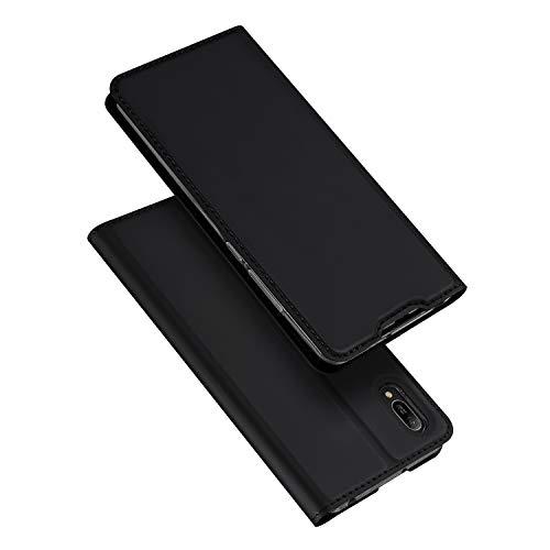 DUX DUCIS Hülle für Huawei Y6 2019, Leder Flip Handyhülle Schutzhülle Tasche Case mit [Kartenfach] [Standfunktion] [Magnetverschluss] für Huawei Y6 2019 (Schwarz)