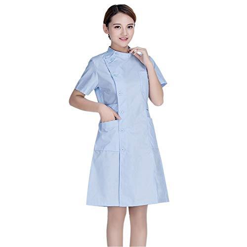 ESENHUANG Frauen Krankenschwester Uniform Kurzarm Medizinische Kleidung Lab Mantel Arbeitsanzug Kleid Krankenhaus Kleidung Weiß Rosa ()