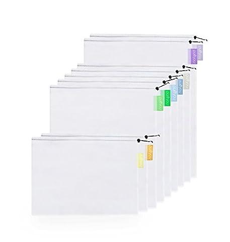 purifyou wiederverwendbare transparente Netz-Beutel aus Polyester, mehrere Größen mit Etiketten