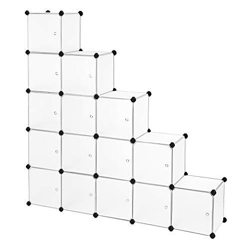 SONGMICS Armoire XXL, Meuble de Rangement, Étagère modulable, 16 Cubes, Cadre en métal, pour Vêtements, Jouets, Sacs, Dimensions 143 x36 x 143 cm, Blanc Semi-Transparent LPC44B