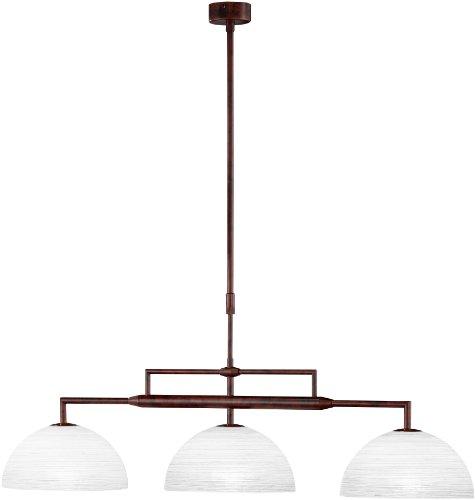 Honsel 60703 Lampe suspension Métal vieilli/verre blanc fumé