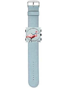 S.T.A.M.P.S. Stamps Uhr komplett - Zifferblatt Pink Flamingo auf Lederarmband pastell blue