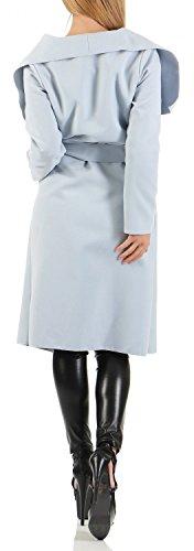 Damen Langer Mantel, Trenchcoat mit Taschen und Taillengürtel ( 543 ) Hellblau