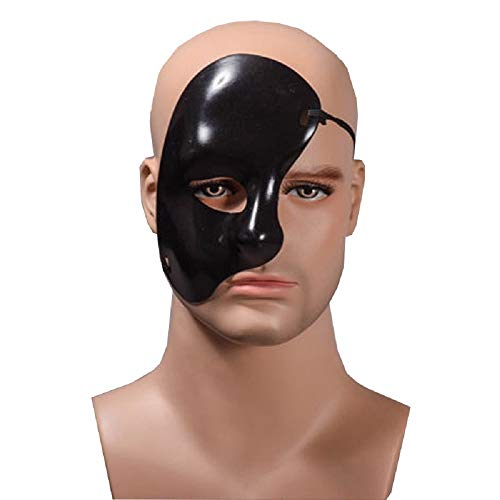 Inception pro infinite Halbe Gesichtsmaske - Geist der Oper Schwarze Farbe Verkleidung Karneval Halloween Cosplay Geschenkidee Unisex-Mann-Frau Kinder (Halloween Halb Mann Frau Halb)