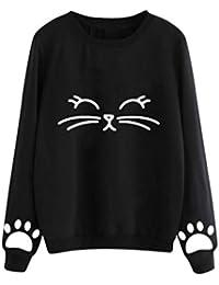 09dc0c7087112d GreatestPAK Damen Pullover Katzenpullover Langarm Rundhalsausschnitt  Oberteile Herbst und Winter Cat Weater Rundhals regelmäßige Bluse