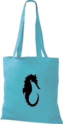ShirtInStyle Stoffbeutel Seepferd Seepferdchen Baumwolltasche Beutel, diverse Farbe sky blue