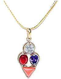 Sagittarius Zodiac Rudra Divine Self Certified Multicolor 100% Original Semi Precious Gemstone Prosperity Pendant...