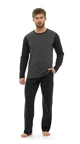 Pijama Hombre Invierno Sudadera Gimnasio 100% Algodón Mangas Largas Set Suave Cómodo Ropa de Dormir (Bota Pierna Corte Gris Carbón, M)