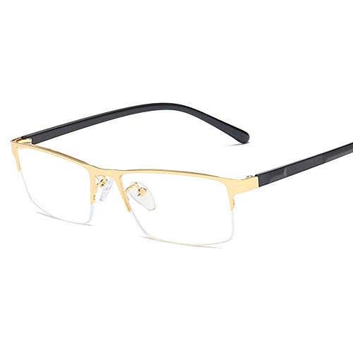 Herren Sonnenbrillen Men Metal Plain Glasses TR Spiegelbein Platz Halbrahmen Anti Blue Light Flat Glasses LTJHJD (Color : Gold, Size : Kostenlos)