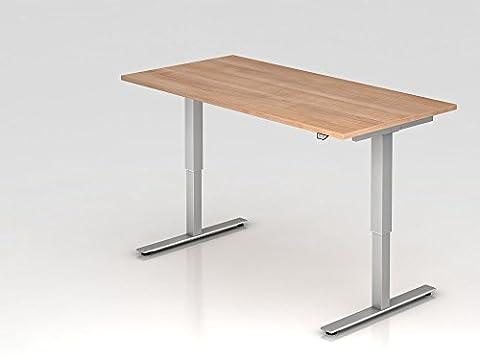 Elektrisch höhenverstellbarer Schreibtisch, 160x80cm, Nussbaum