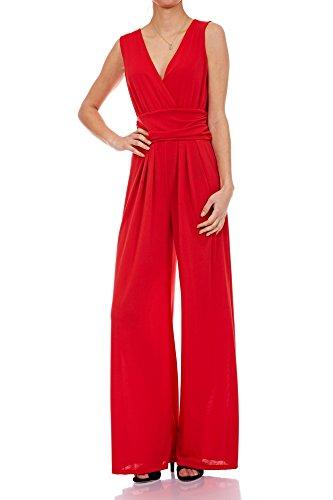 Laeticia Dreams Eleganter Damen Overall Jumpsuit V Ausschnitt S M L XL, Farbe:Rot, Größe:38 M