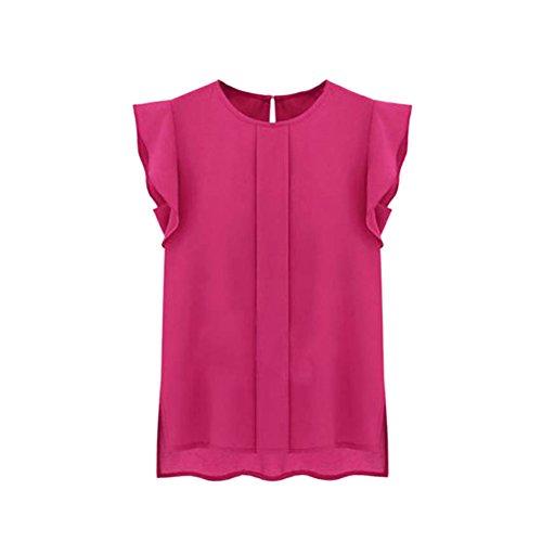 Etosell Sexy courte en mousseline Leisure T-shirt chauve-souris hauts chemisiers Rouge - Rose