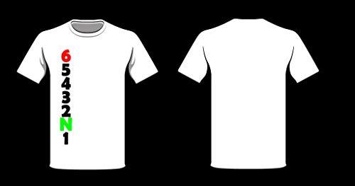 Speed-Biker Fun T-Shirt \'MotoGear\' Motorrad Gänge Gangschaltung in Weiß, Größe:L
