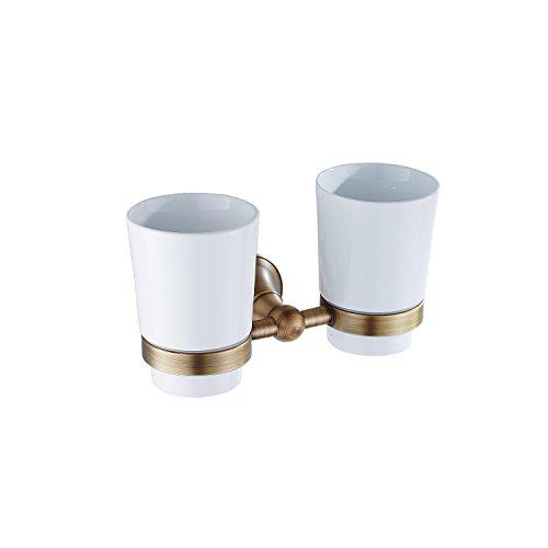 Glas-antik-zahnbürste-halter (Lonfenner Messing antik Zahnbürste tumbler Halter Keramik Becher set Bad doppel glas Zahnbürste Inhaber)
