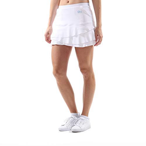Sportkind Mädchen & Damen Tennis/Hockey/Golf Tulip Rock mit Taschen & Innenhose, weiss, Gr. 122