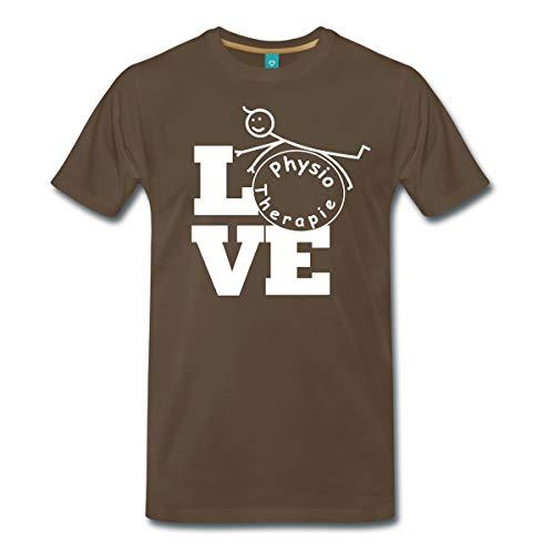 Spreadshirt Love Physiotherapie Männer Premium T-Shirt, 5XL, Edelbraun